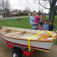 The Cummings family of Shelbyville, Kentucky, built GENERATIONS, a Bevins skiff, as a means of celebrating three generations.