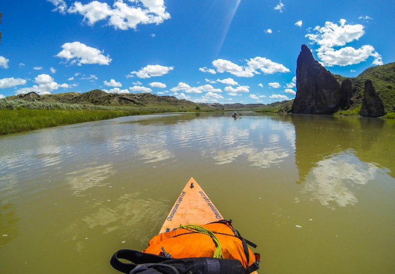 The current in the section I paddled with my dad was strong enough to allow us to make miles easily. We could afford to meander downstream and enjoy the unique rock formations— such as Citadel Rock seen here—around every bend.