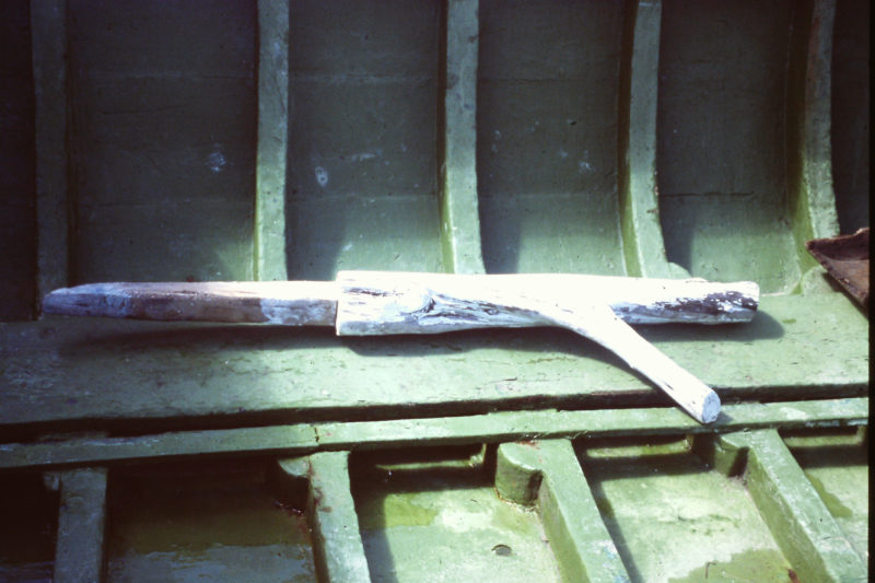 This natural crook has a squared tenon to fit in a slot in the gunwale of a Croatian fishing boat.