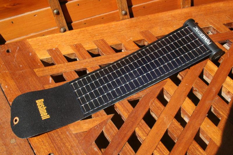 The Solar Wrap Mini unrolls to expose the flexible solar panel.