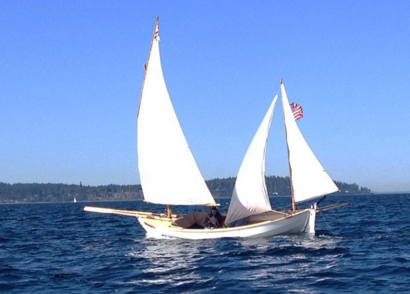 "The ""bowsprit"" on my Caledonia yawl is a pair of oars."