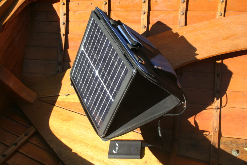 The SunVolt case holds the solar panel to face the sun.