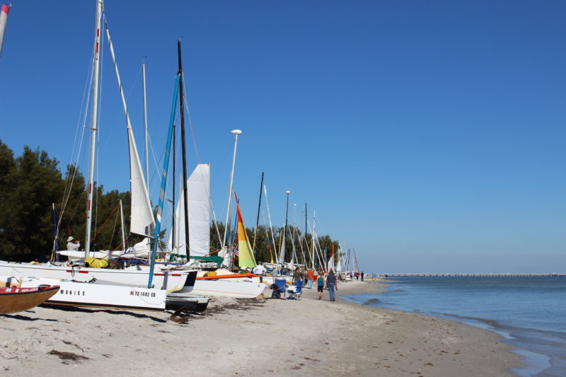 The starting line of the EC is an impressive array of small boats stretched out across the beach.