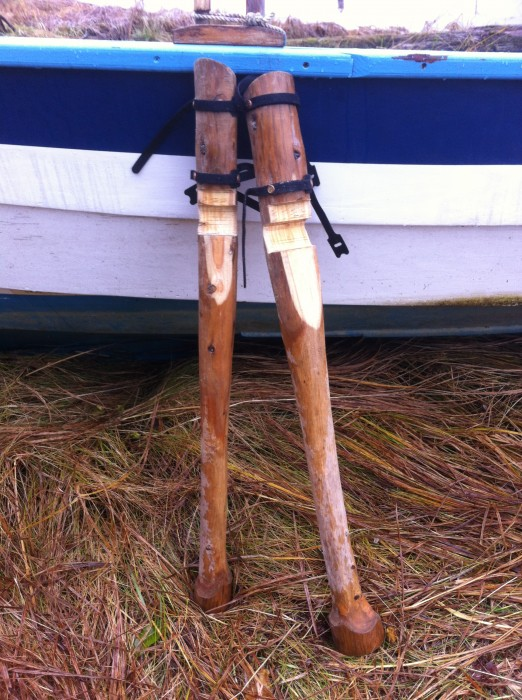 Captain Ahab's spares? The author's yellow cedar beach legs were a driftwood solution to the problem of sleeping aboard on a falling tide that would leave the boat high and dry in the middle of the night.