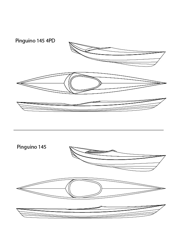 The Pinguino hull's big adavantage is that it has less wetted surface and less frictional drag than longer boats; it thus takes less effort to propel it to cruising speed. It's stability and good manners make it ideal for the casual paddler.