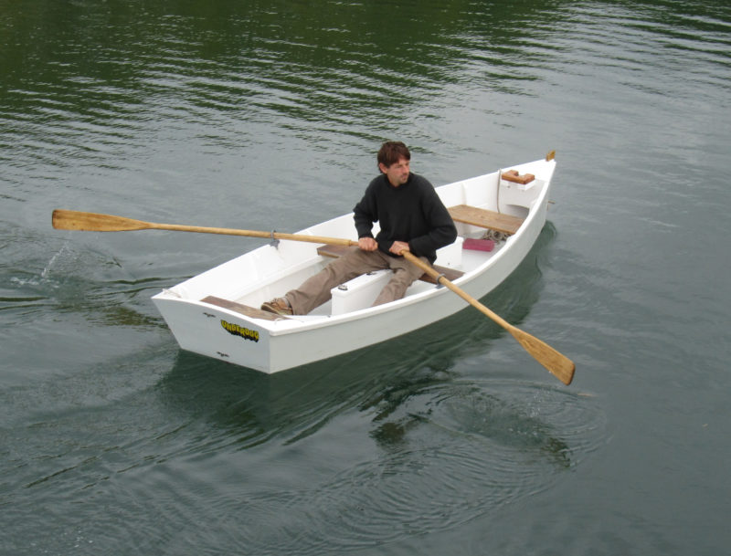 Bevin's Skiff is versatile. With the rig removed, it makes a handy yacht tender. A few rocks in the stern will keep the bow from rooting when the boat is being towed.