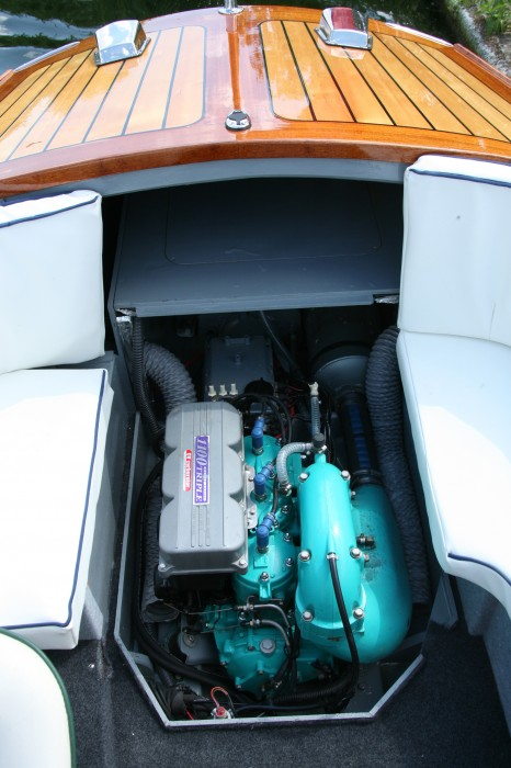 Power is supplied by a two-stroke, 130-hp engine harvested from a Kawasaki Jet Ski.