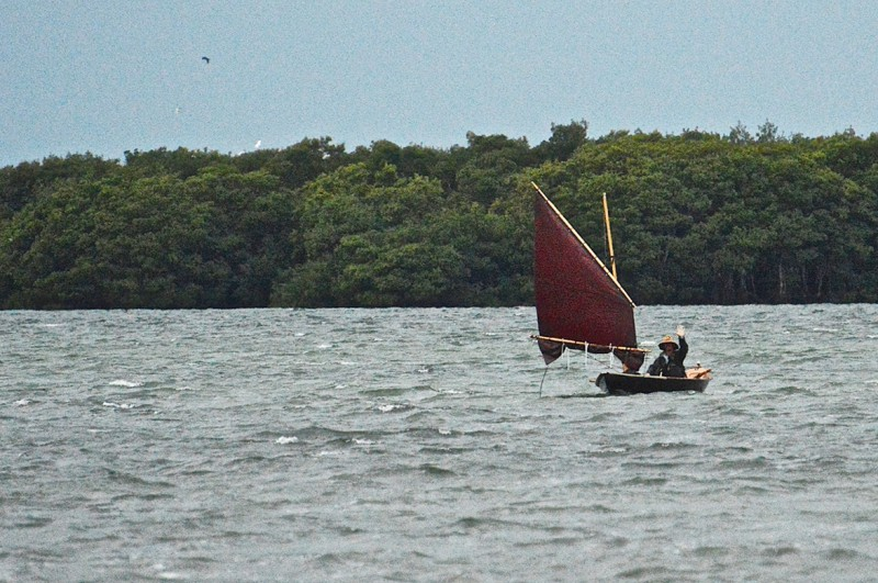 Having sailed through high winds and driving rain, I approached the finish with a deep reef in the sail.