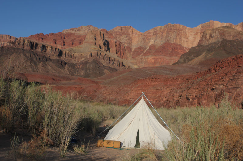 The camping gear used in the early 60s was often canvas and wool. In a nod to that era, I camped every night using either a canvas tent or cowboy bedroll. Nighttime temperatures were usually in the 40s. Here at Tanner Wash I pitched my tent away from the river and did a little hiking.