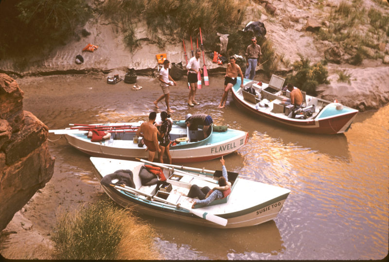The 1962 trip led by had oarsmen Martin Litton in the PORTOLA, Pat Reilly in the SUSIE TOO, and Brick Mortenson in the FLAVELL II.