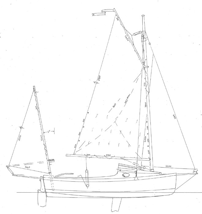 The cruising yawl rig has short manageable spars and sails that are easily reefed.