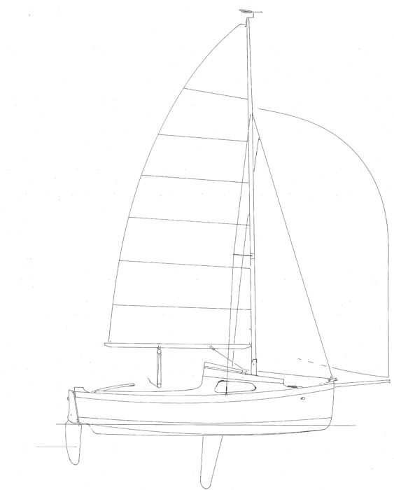The sloop rig's 198 sq ft of sail will bring the Sweet Pea up on a plane in a reach or a run.