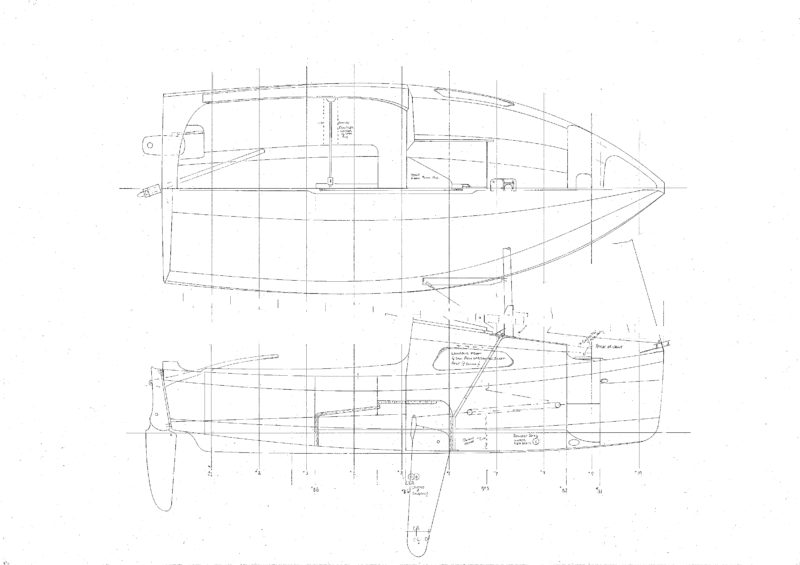 The plans call for 9mm plywood skin over the chines and plywood bulkheads, a simple structure quickly constructed. The cockpit will sea six and the cabin will seat four and sleep two.
