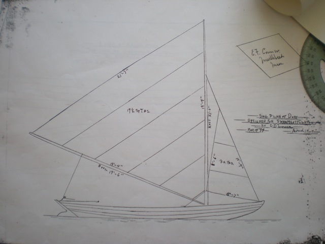 The sail plan, one of the three original drawings, shows signs of its age around the edges.