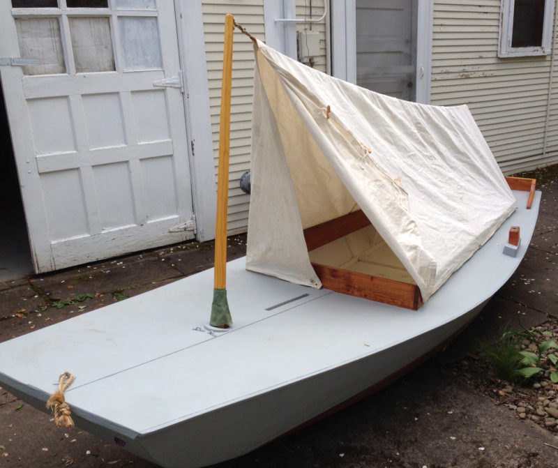 sticks, two hooks, and seven toggle-snaps is all it takes to set up Zephyr's canvas tent. A tensioner in the line tightens things up, and wood and rope toggles keep the door closed.
