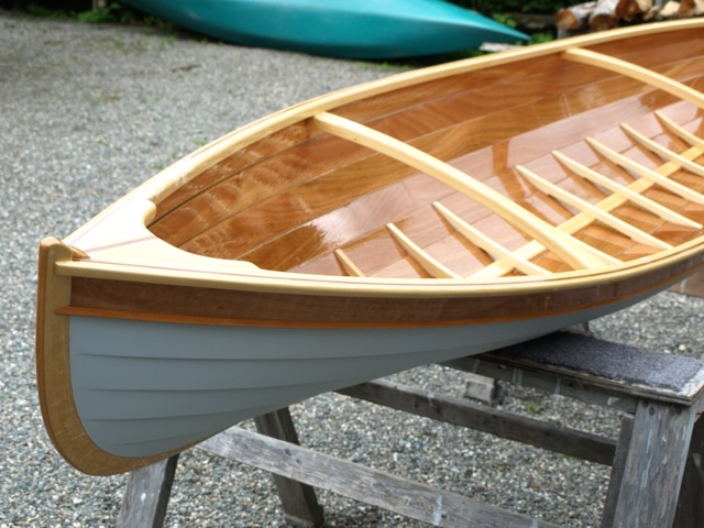 Spruce structural members keep the canoe's weight to a minimum.