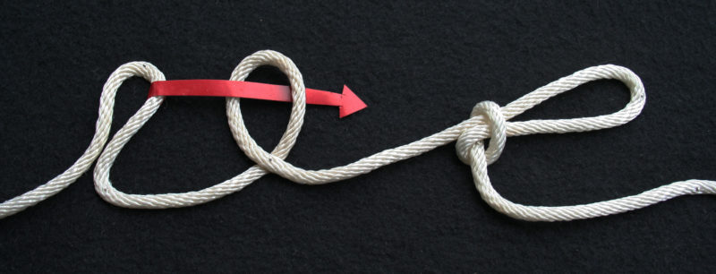 The wrong way to tie the slip knot for a trucker's hitch. The bight must not be on the standing side (left here) of the loop. When trucker's hitch is tensioned, the bight will shrink back into the loop.