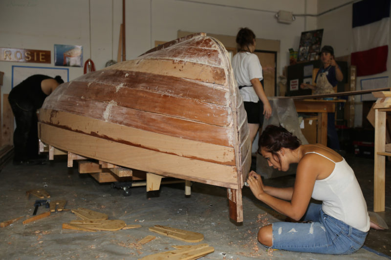 """The women in the class showed great attention to detail and were cutting terrific gains by the time they got to the sheer plank. The inner/outer stem construction avoids having to cut rabbets. The outer stem is laminated with 1/8"""" fir."""
