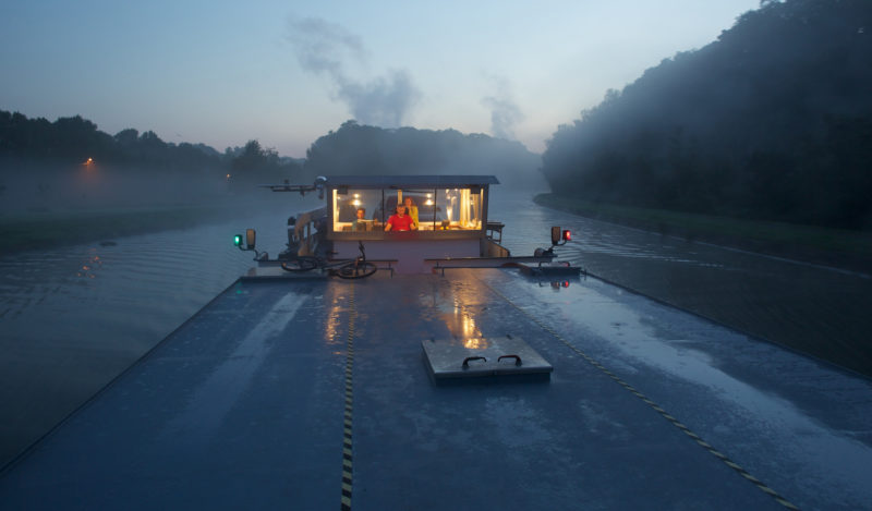 The barge SAINT JEAN BOSCO got an early-morning start heading for Seneffe, Belgium, with a load Chinese silicone.