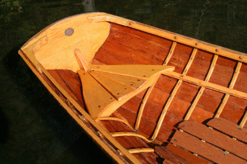 The frames in very ends of the boat take some very tight turns. Better trim could be achieved with a passenger aboard by making the stern bench longer and adding a backrest to put the additional weight farther forward.