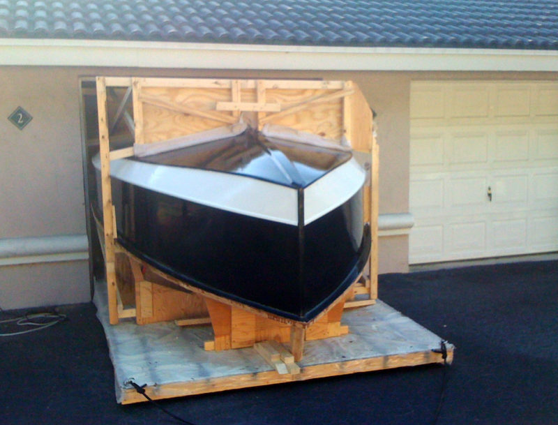 """The rolling building platform and the roll-over frame were sized to get through the garage with only 2"""" to spare."""
