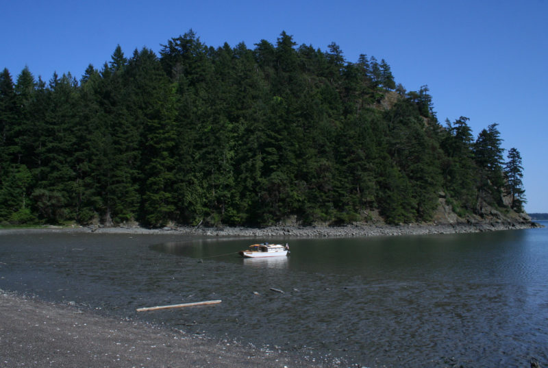 Cypress Island's Eagle Harbor has broad mud flats at the head of the cove. While there were a dozen or more boats anchored nearby, no one else had come ashore.