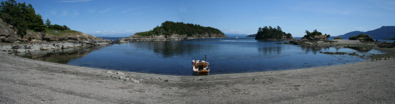 Ewing Cove is separated from the more heavily used anchorages and campgrounds on the island. It gets lots of visitors during the day but few, if any, stay the night.