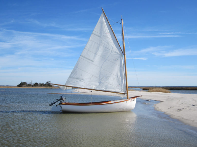 """With a reef in her 152 sq ft sail for a fresh breeze, LITTLE T's 9"""" draft allowed her to take a break in some protected but thin water."""