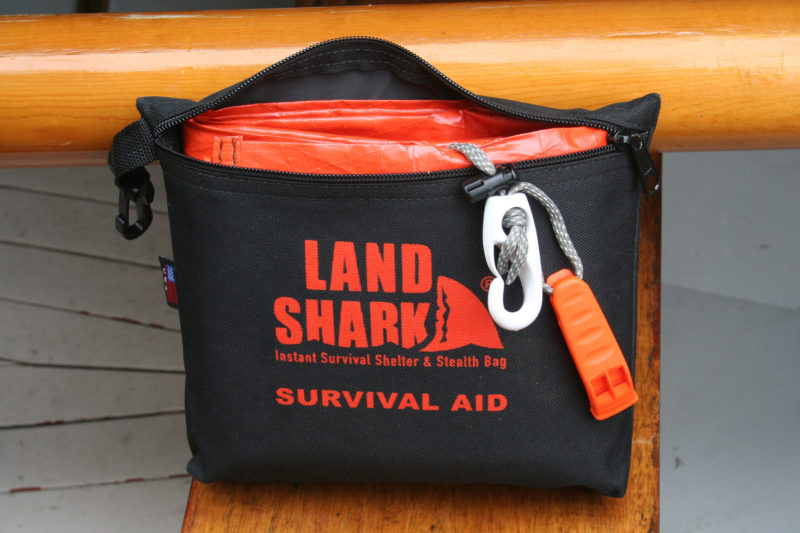 Packed in its zippered fabric case, the LandShark, its whistle, and clip are compact enough to be stowed on the smallest boats.