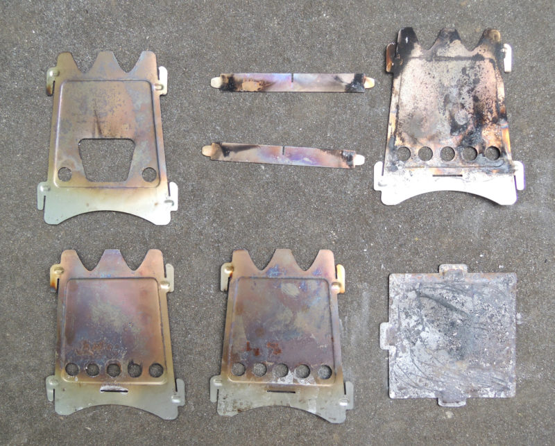 The stove pieces slip together with slotted tabs. Taken apart for packing, they occupy very little space.