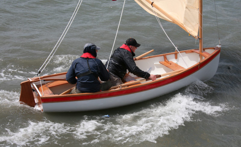 After a wet and wild maiden voyage, TUCANA brought the builder and his crew safely back into the harbor.