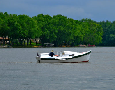 """When the Rock River gets crowded with other boaters, PILGRIM's 12"""" draft allows her to explore quieter backwaters."""