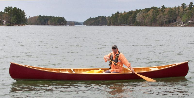 The White Guide is a great solo paddling canoe. White Guides can be built with or without a keel. Those built without keels are more maneuverable and typically used in quick or white water. Our canoe has a keel as my wife, Sharon, and I tend more to flatwater paddling.