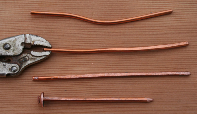 From household grounding wire to a squared rivet, hammering the flat faces on the wire work hardens the copper.