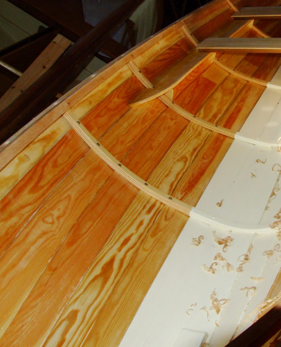 The frames are laminated from cut-offs from the planking stock.