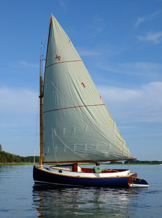 The 290-sq-ft sail provides good performance in light air; the first reef goes in at 8 to 10 knots of wind.
