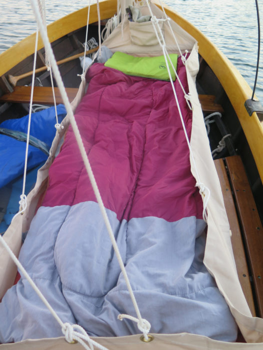 With the sleeping bag in place, the bunk is ready for the night.