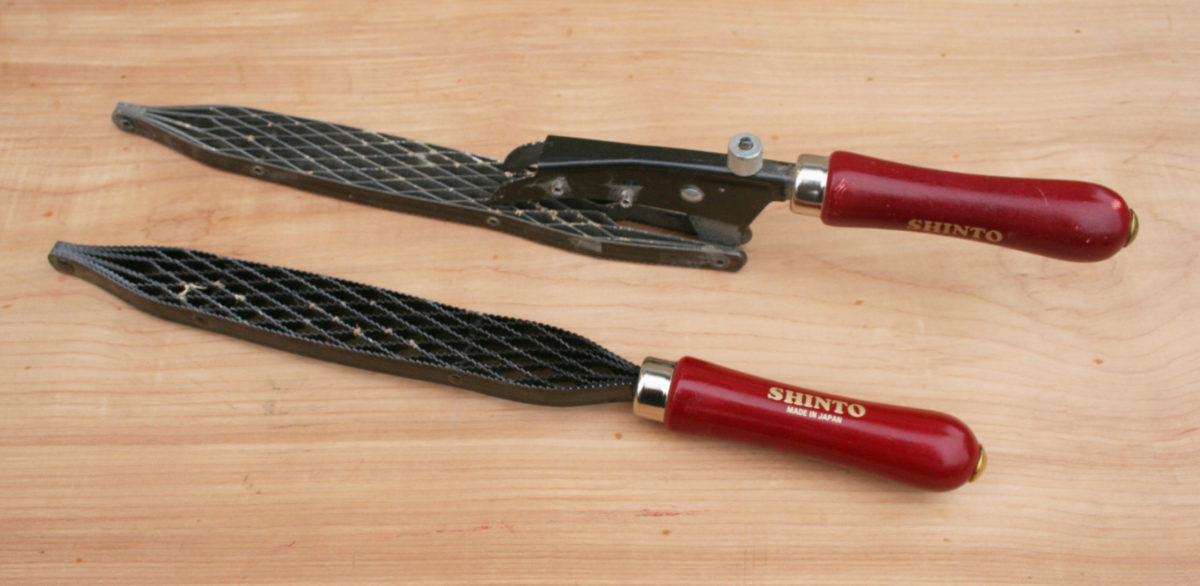 "Shinto's Planer Saw Rasp (top) and 9"" Saw Rasp"