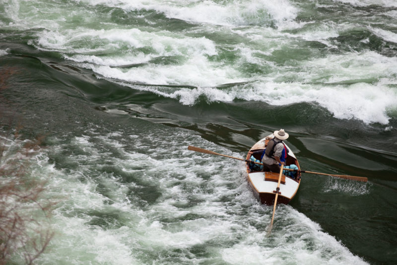 Fred steered the scout boat to the line he'd chose to run Badger Creek Rapid.