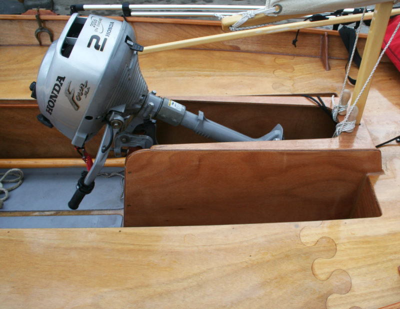 The mizzen's partners and step are built into the aft end of the motor well. Note the jigsaw-puzzle joints connecting the plywood pieces.