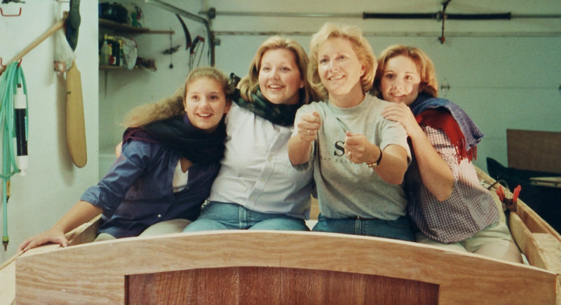 Sara, Heidi, Samm, and Erin pose aboard the not-yet-finished ELSIE MAE for the year's Christmas card.