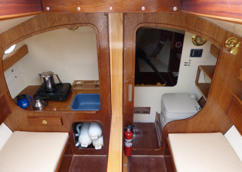The centerboard trunk can be used to support a drop-leaf table. Builders opting for the leeboard or bilge-keel versions of the Penguin can omit the centerboard trunk.