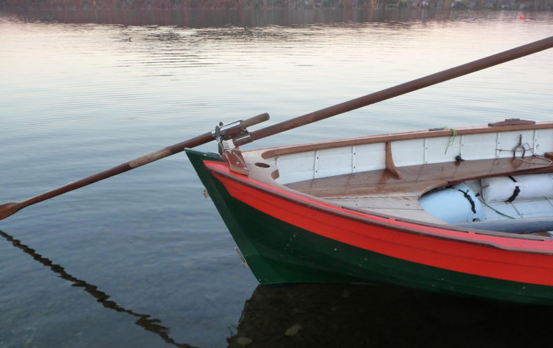 The author's double ender has a short outrigger for a sculling. The lock needed to be slightly elevated to keep the handle from making contact with the outrigger.