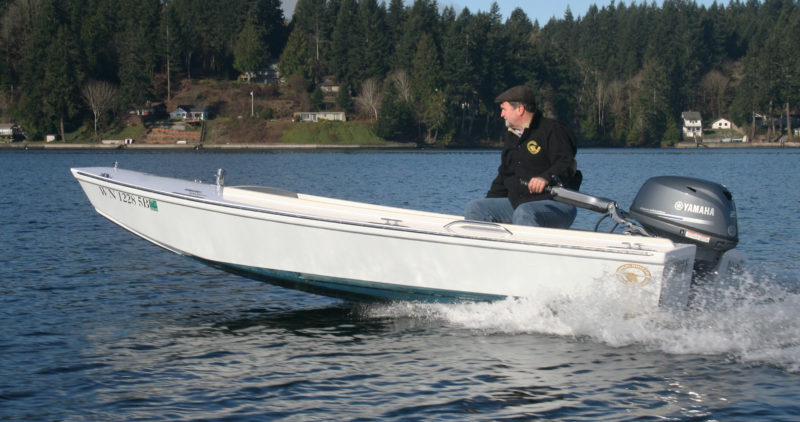 Designer Sam Devlin puts the Cackler up on a plane on Eld Inlet, his home waters at the south end of Washington's Puget Sound.