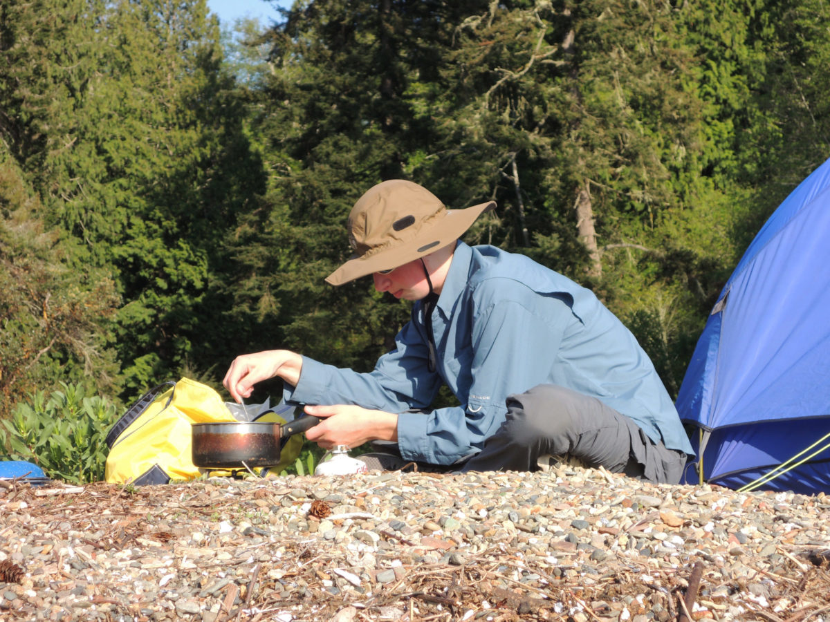 At home, Merry's no fan of cooking; but in camp and near the water, he's happy to oblige. Isobutane canister stoves nicely balance convenience and safety on shorter trips.