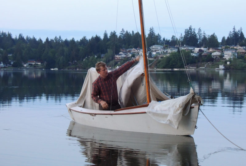 Mild temperatures and a scarcity of insects make this part of the Salish Sea ideal for camping. A canvas painter's dropcloth made a simple, but effective cockpit tent for Tim's boat.