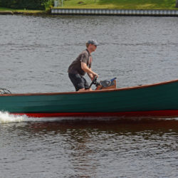The skiff's concave run is as effective as trim tabs in keeping the bow down at speed.