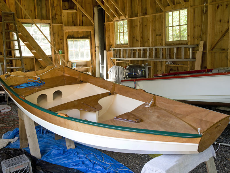 Chesapeake Light Craft estimates the Passagemaker will take 100 hours to build. The daggerboard trunk is standard outfitting, even for the basic rowing hull, making it easy to upgrade to sailing.