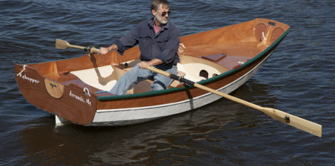 The bottom has enough rocker to keep the transom from dragging in the water, even with a heavier load aboard.