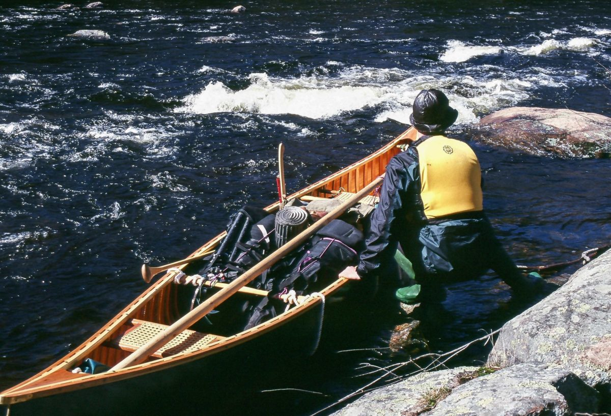 Raquette River, Adirondacks. Lining, like portaging and upstream hauling, became comfort measures. When paddling simply wasn't working, I fell back on what would. Progress was slow, but anything that kept me moving was enough to boost my spirits.